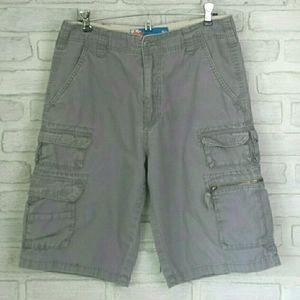 Gray Cotton Cargo Shorts 31